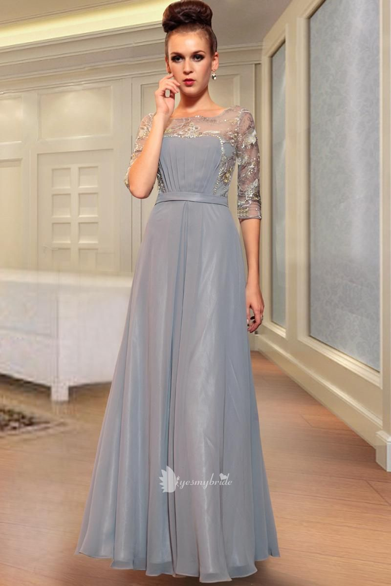 Silver Grey Boat Neck Embroidered Sequins Sheer Three Quarter Sleeve
