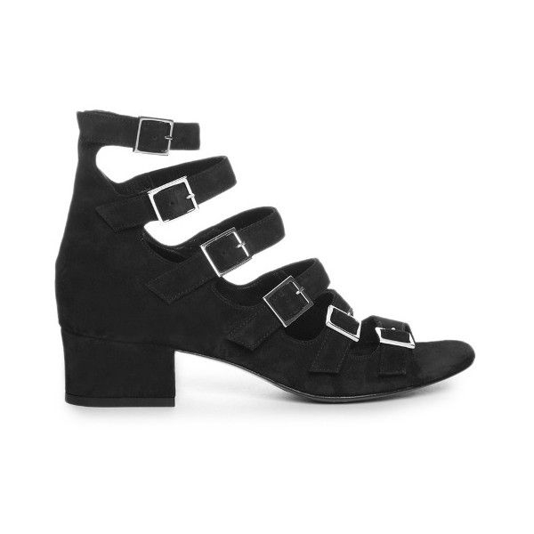 Saint Laurent Babies buckle-strap suede sandals ($537) ❤ liked on Polyvore featuring shoes, sandals, block heel shoes, black suede shoes, suede leather shoes, buckle shoes and buckle sandals