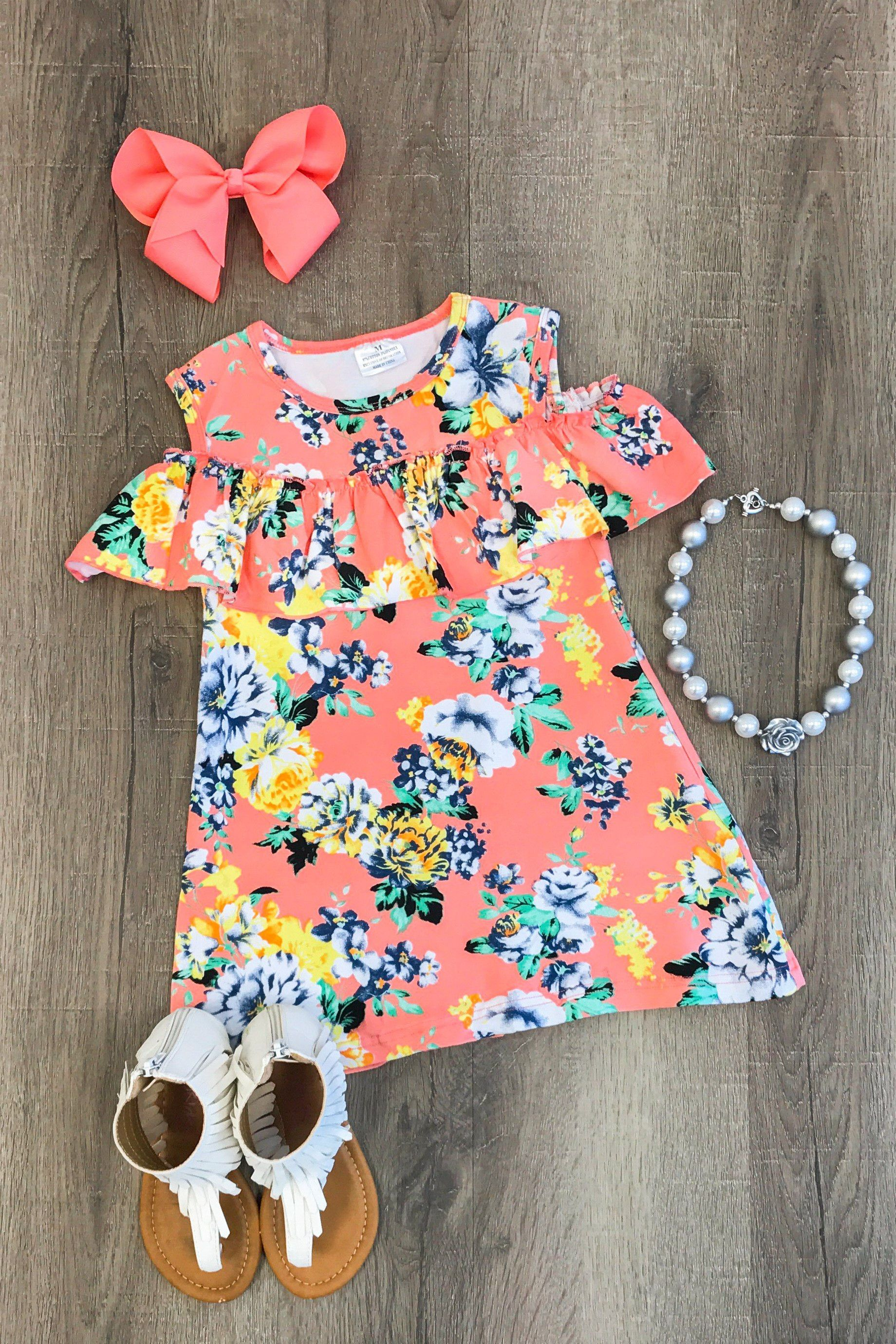 Coral Floral Off Shoulder Dress Kids outfits, Cute baby