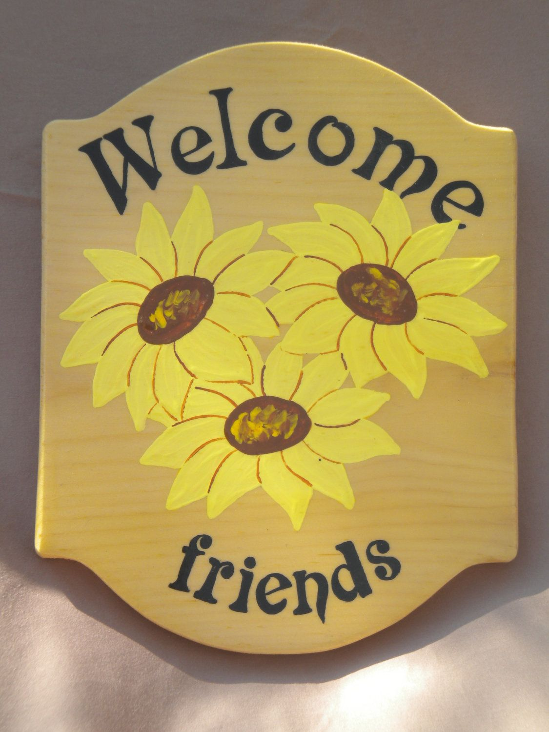 Welcome sign, acrylic painting, sunflower painting, outdoor decor ...