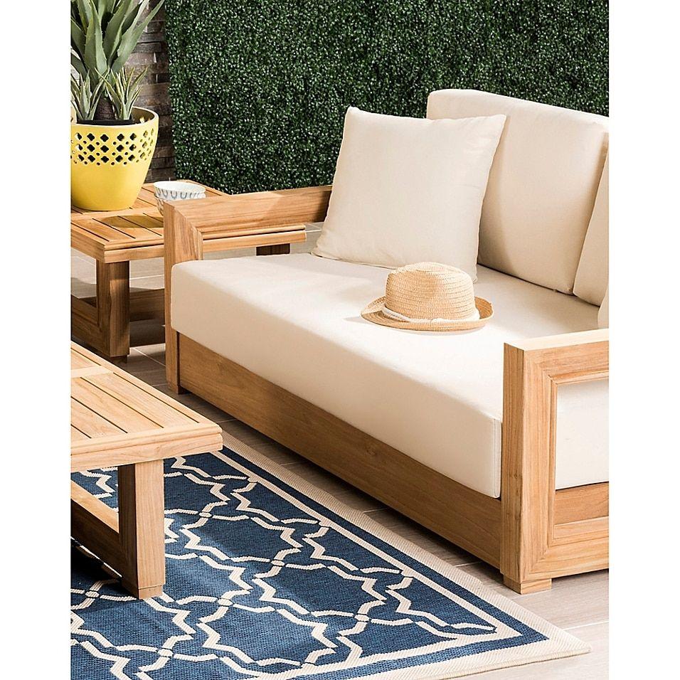 Safavieh Montford Teak 2 Seat Loveseat Bed Bath Beyond Backyard Furniture Teak Patio Furniture Patio Sofa