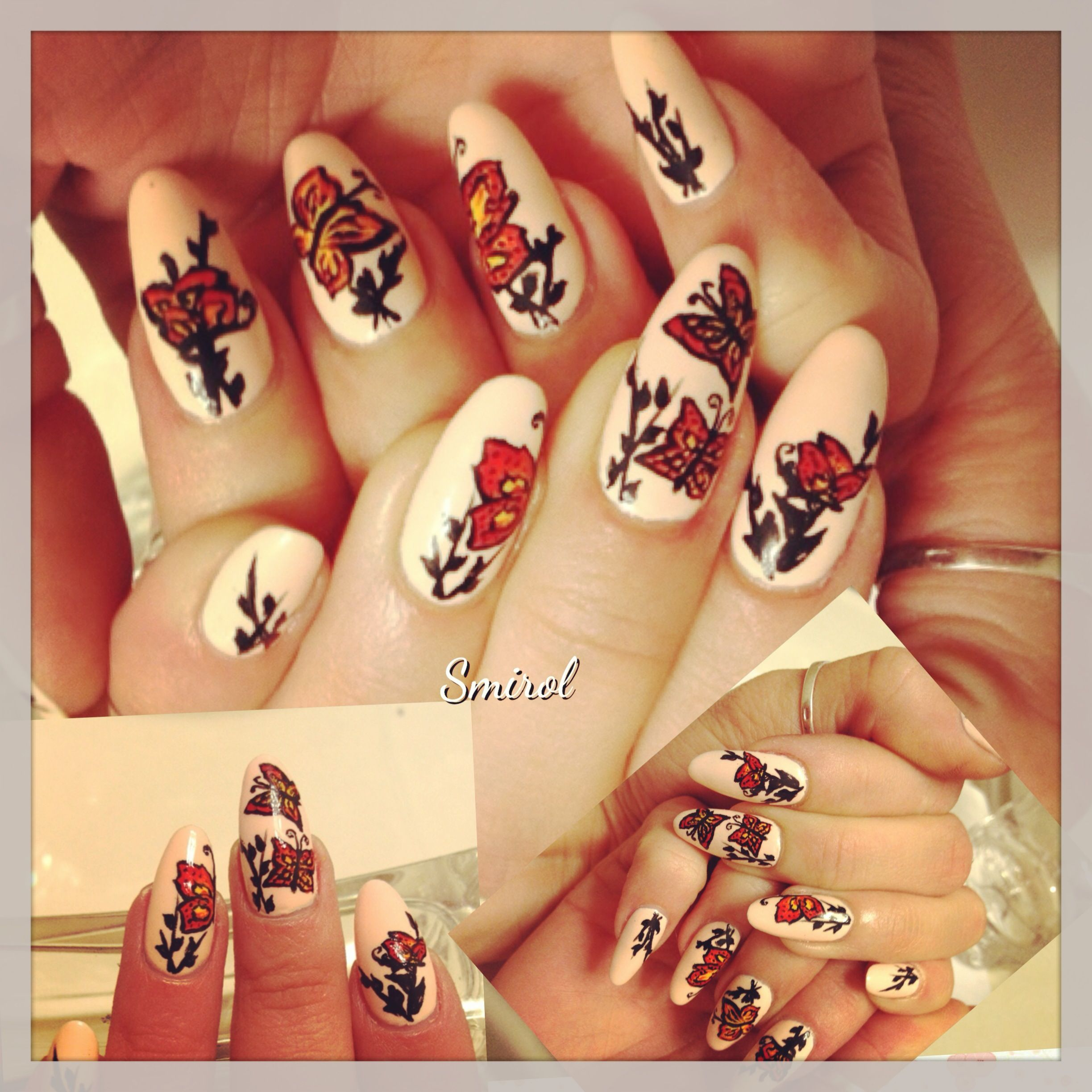 #Butterly #naildesign! #nailart #nails #freehand