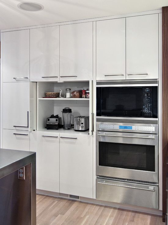 Appliance garage in pantry wall design kitchen for Small kitchen in garage