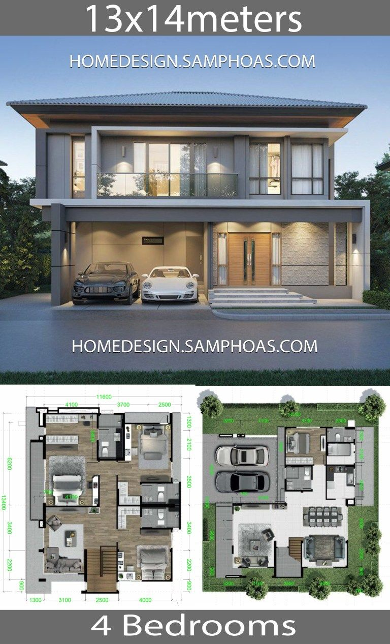 House Design Plans 13x14m With 4 Bedrooms Home Ideas House Front Design Modern House Facades Two Story House Design