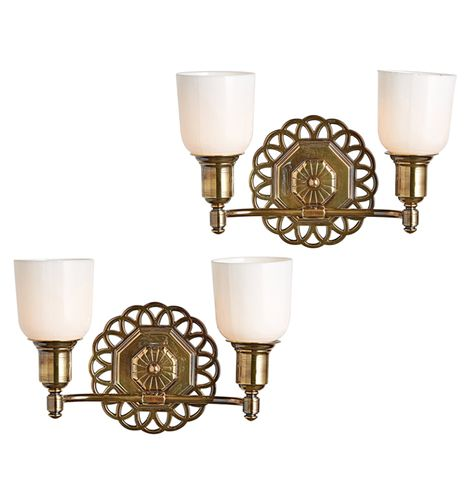 Pair Of Colonial Revival Wall Sconces W Cup Shades Circa 1930s R8681 Cool Lighting Sconces