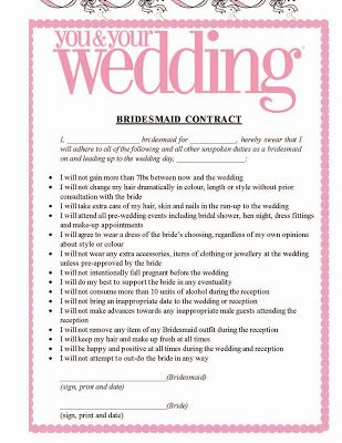 The Awesometastic Bridal Blog Bridesmaid Pledge  Wedding