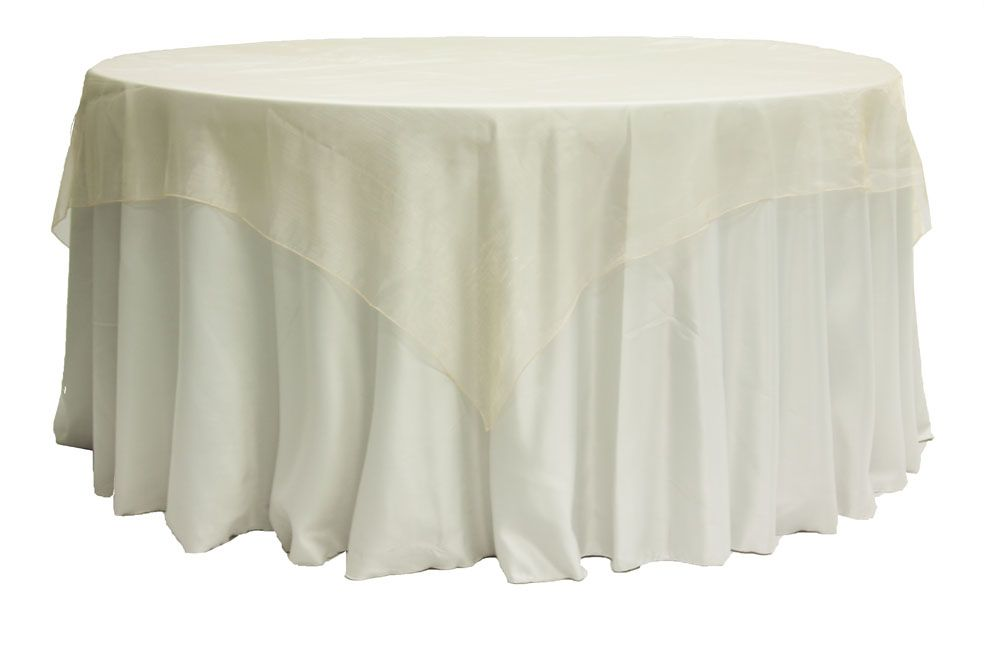 "Organza 72"" Square Table Overlay - Champagne"