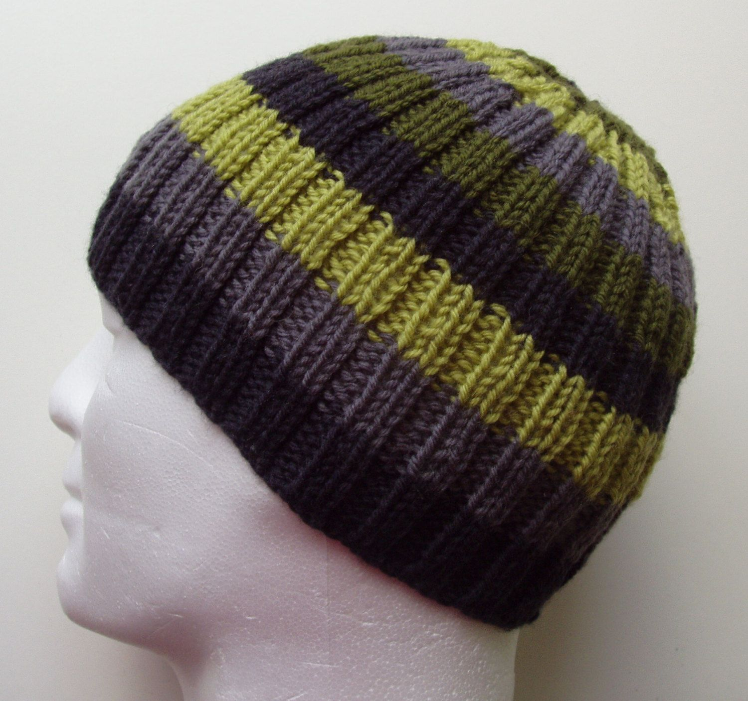 FINN Mans BEANIE Knitting PATTERN Striped Ribbed Hat Knit on ...
