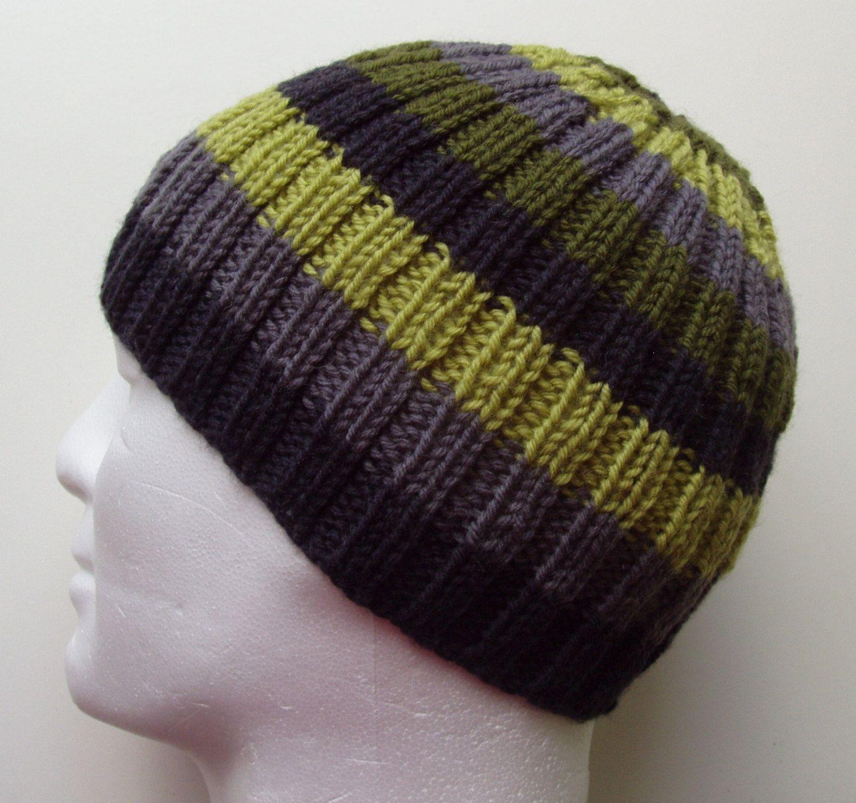 FINN Mans BEANIE Knitting PATTERN Striped Ribbed Hat Knit on Straight  needles February 19 90bf03ebc59