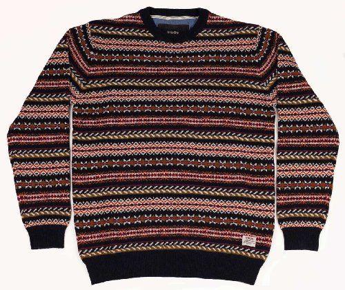 Mens Bison Fashion Casual Jacquard Fairisle Aztec Pattern Lambs ...