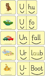 Förderband Domino und Silbenwörter zum Buchstaben U