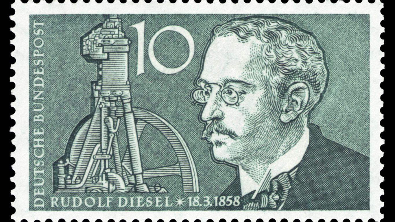 1893 Dieselmotor Von Rudolf Diesel Briefmarken Erfindungen Poster