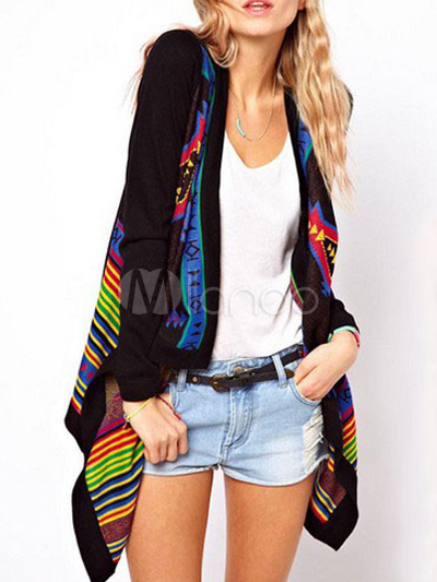 Black Cotton Blend Artwork Open Front Long Sleeves Women's Cardigans - Save Up to 70% Off on fabulous fashion trend products at Milano with Coupon and Promo Codes.
