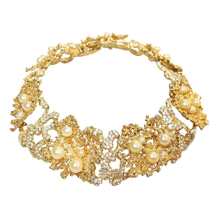Christian Dior Necklace with Faux Pearls and Rhinestones 1968