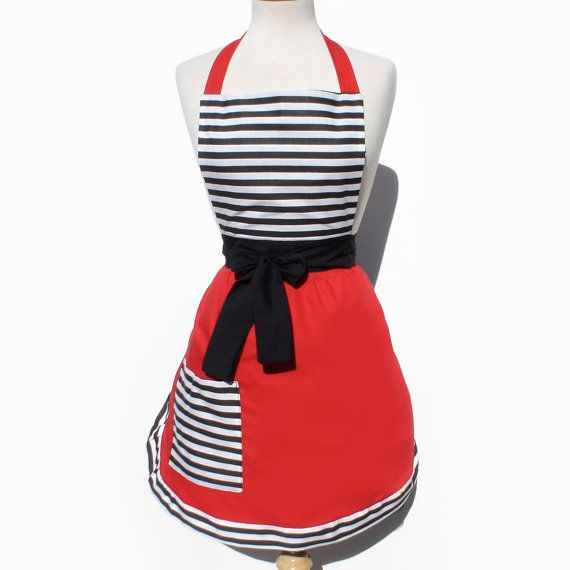 Apron Vintage Inspired Red with Black and White by Suburban50s, $33.00