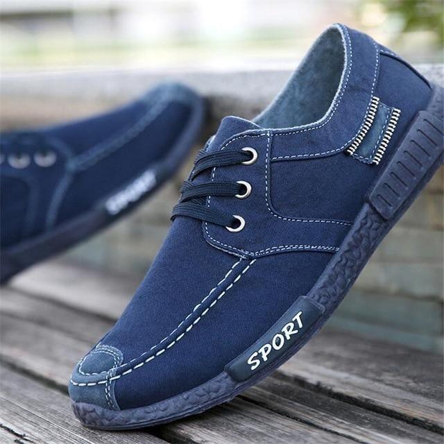 hot Canvas Men Shoes Denim Lace-Up Men Casual Shoes – 3 / 8