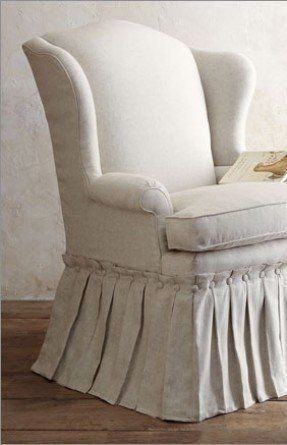 Button Hem Wing Back Chair   Hooooow Cute!! I Can