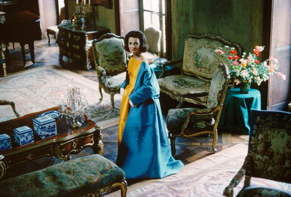 Lee Radziwill, Blue Cape in Brocade Room | From a unique collection of color photography at https://www.1stdibs.com/art/photography/color-photography/