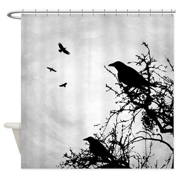 09d057286c0de Shower Curtains, Art Shower Curtain, Bath Mat, Bathroom Bath Crow ...