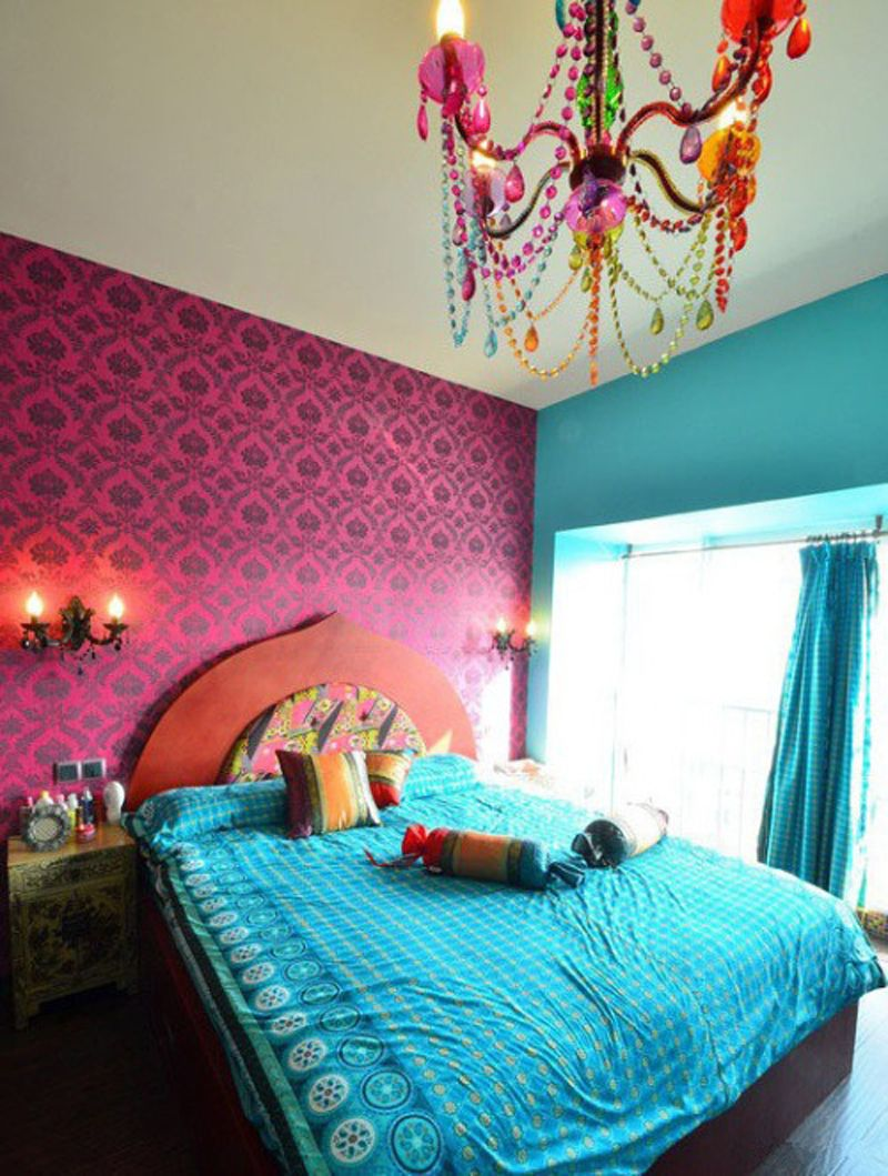 Modish blue and pink moroccan bedroom decor ideas with for Bedroom chandelier ideas