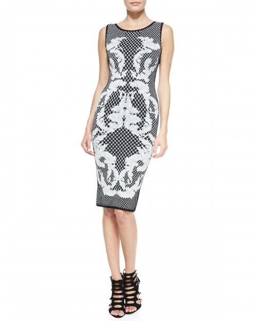 714534c75bb7 Herve Leger Women s Printed Jacquard Sheath Dress Black Combo Xx ...