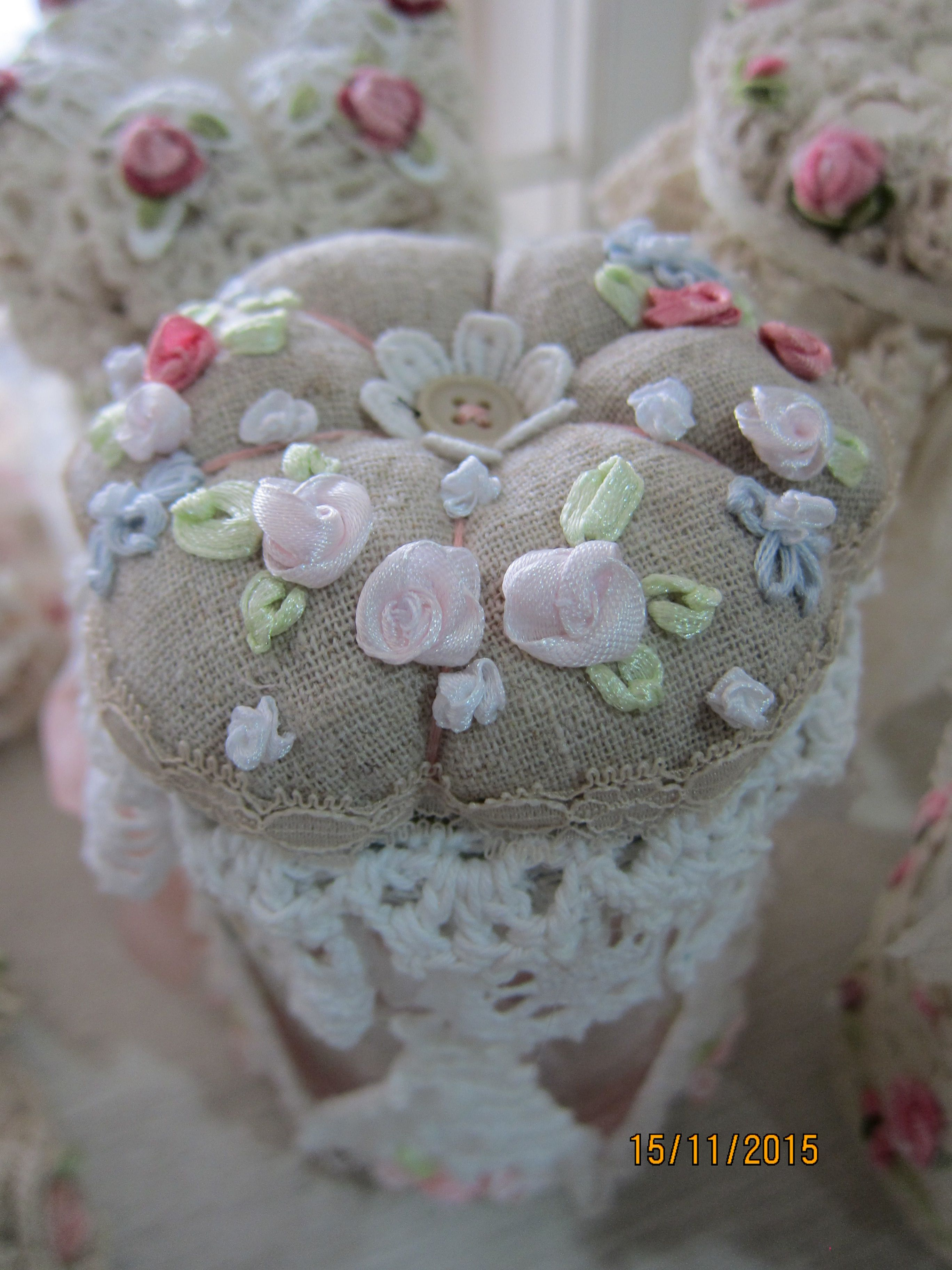 Embroidered Rose*Pin Cushion*Jar* created by Msgardengrove1
