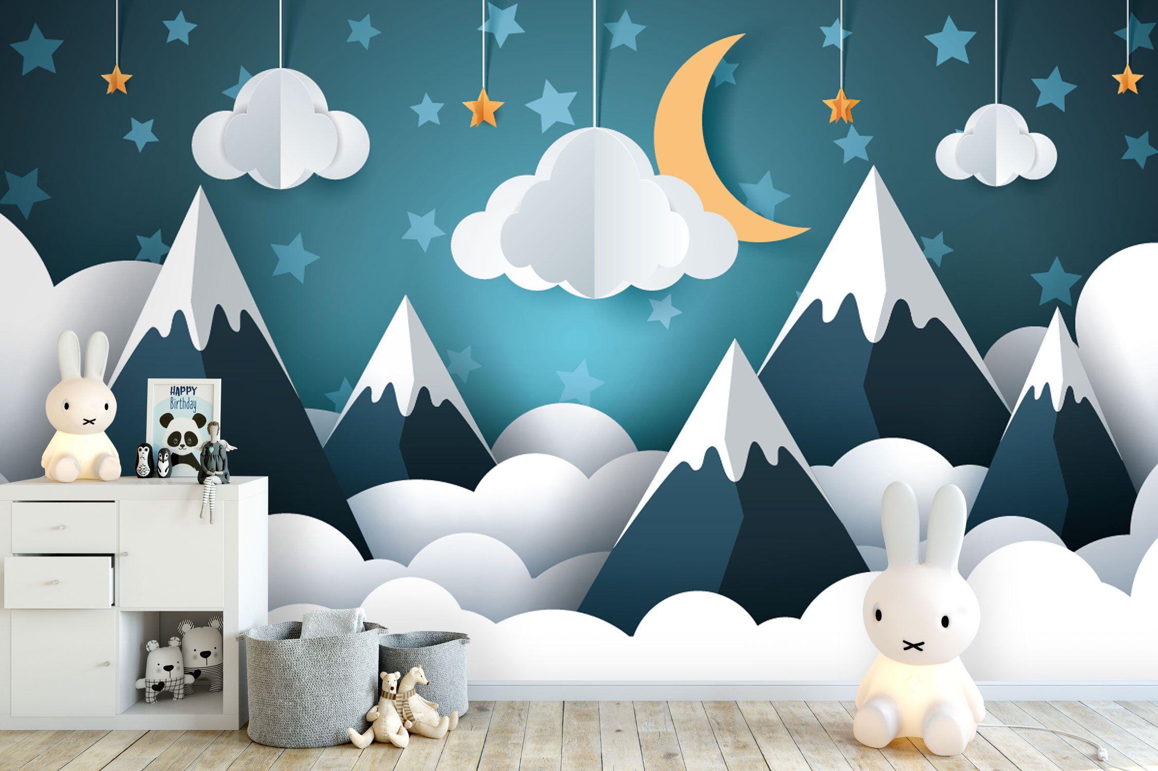 Tapete, Fototapete, Kinderzimmer, Babyzimmer, Berge, Mond ...