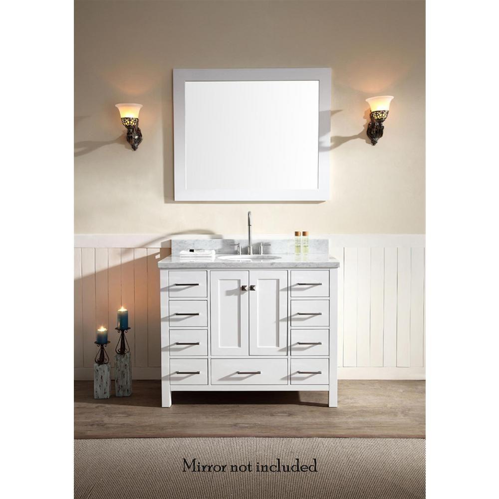Ariel Cambridge 43 In Bath Vanity In White With Marble Vanity Top