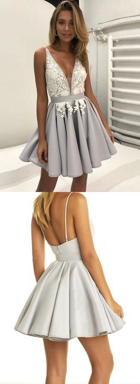 Cute grey lace applique v neck homecoming dressshort prom dress