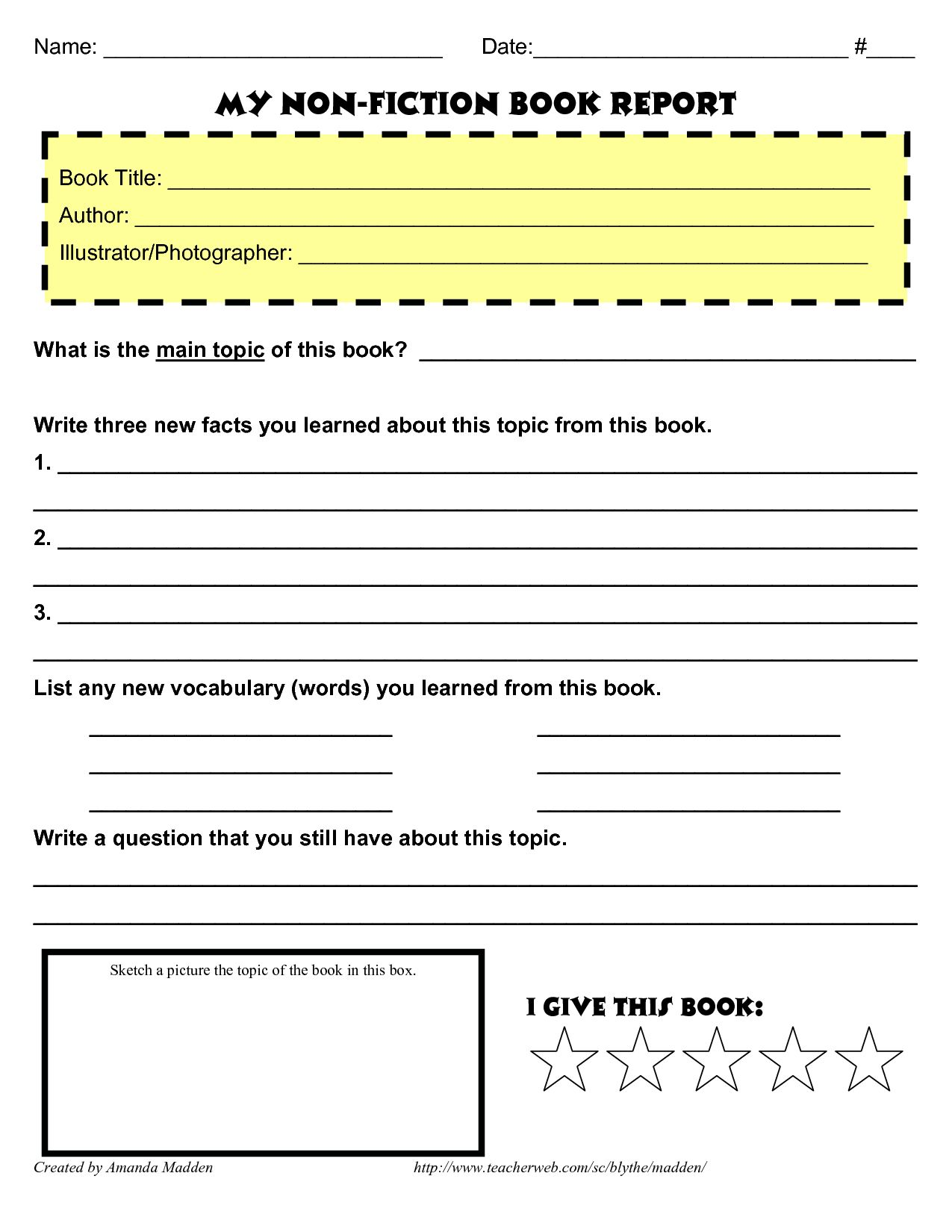 hight resolution of The inspiring 28+  Historical Fiction Book Report Form    Book Report For  Middle School …   Book report template middle school