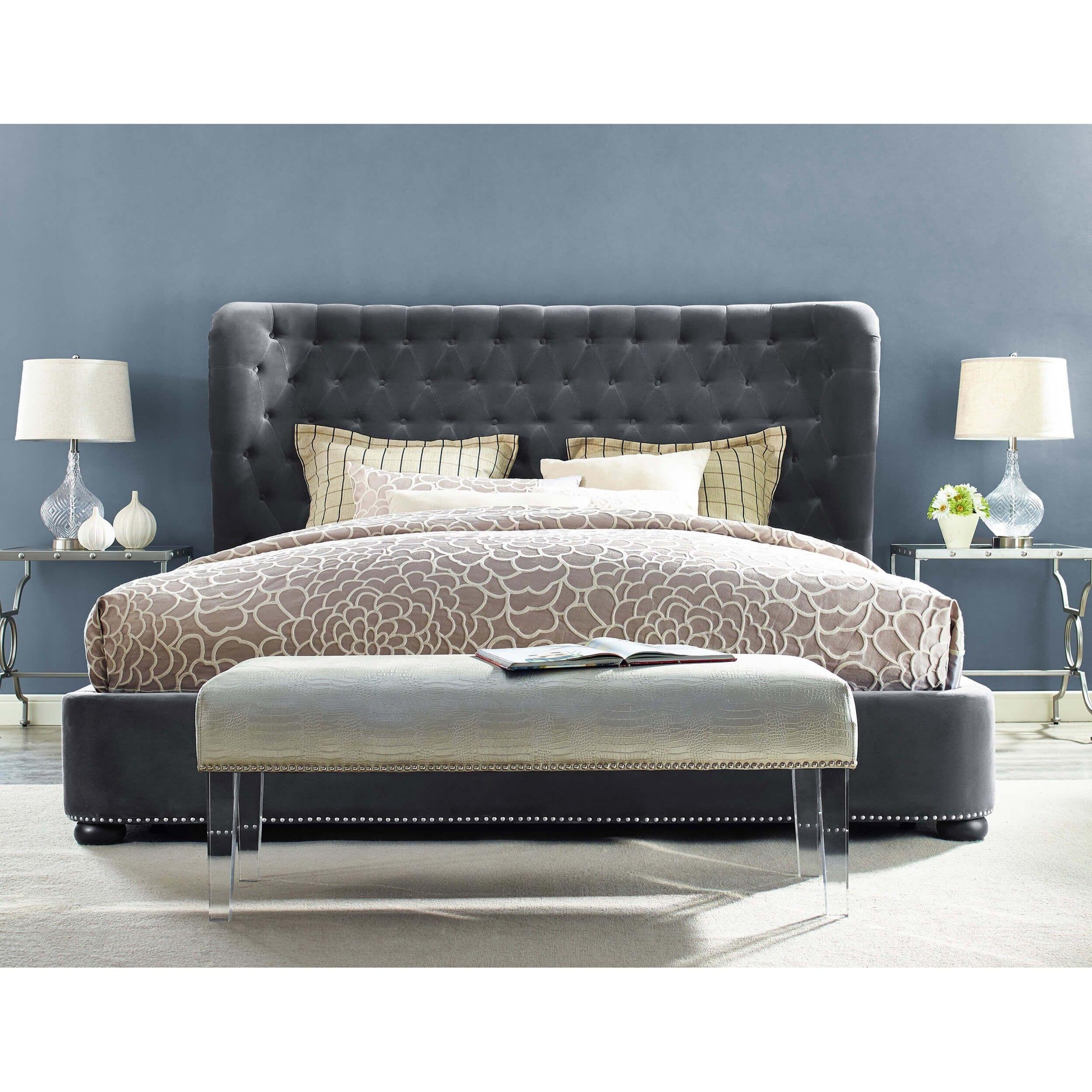 Finley Bed Grey Velvet Queen Grey Bed Frame Upholstered