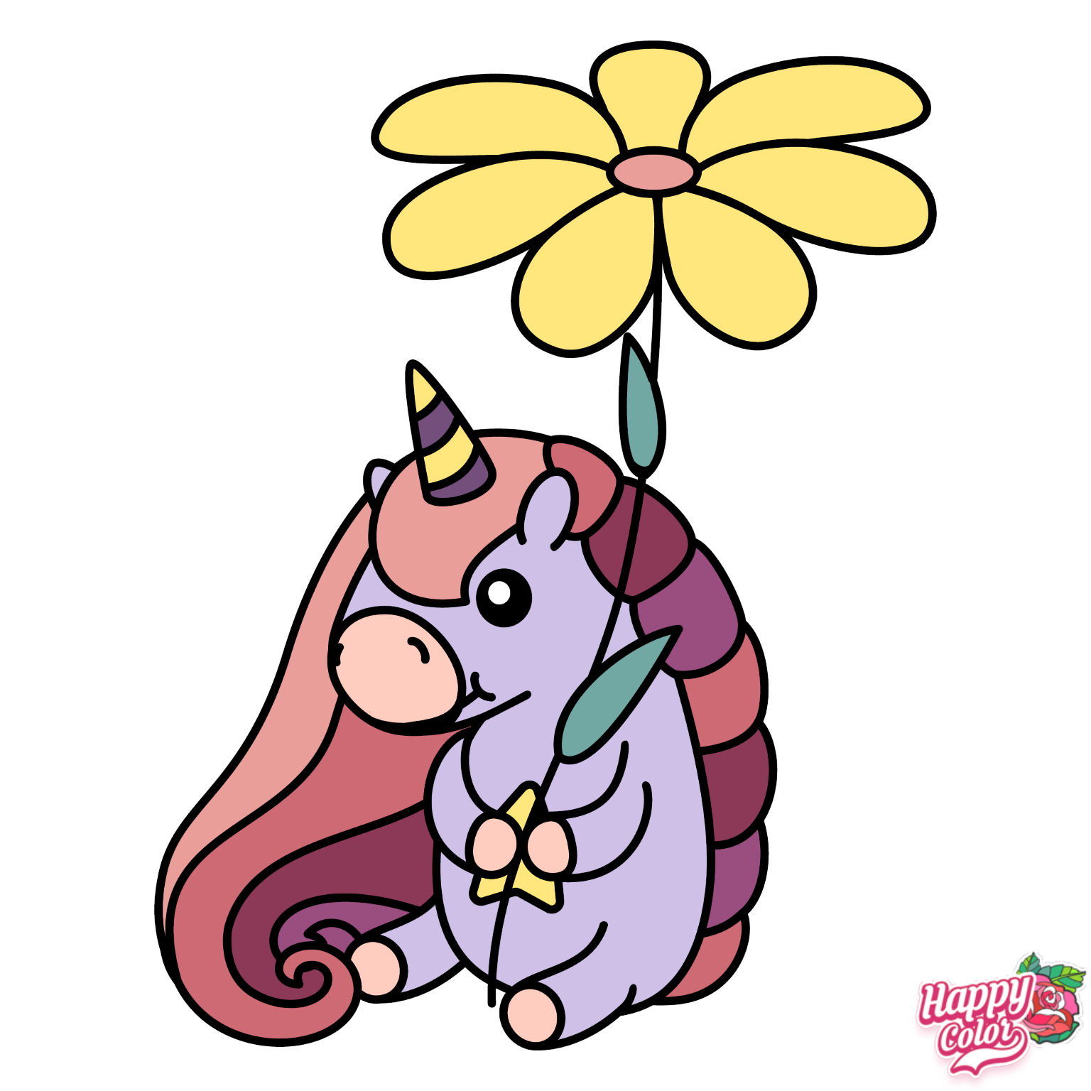 Tiny Unicorn Happy Colors Colorful Pictures Colouring Pics