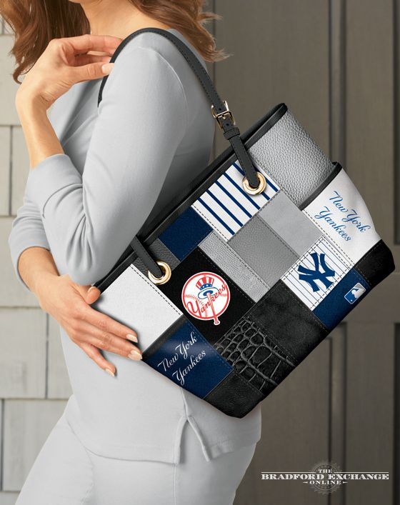 cf81c512daa Sport your love for the New York Yankees in style with this fashion  patchwork-style tote bag. This MLB-licensed tote showcases the official team  colors and ...