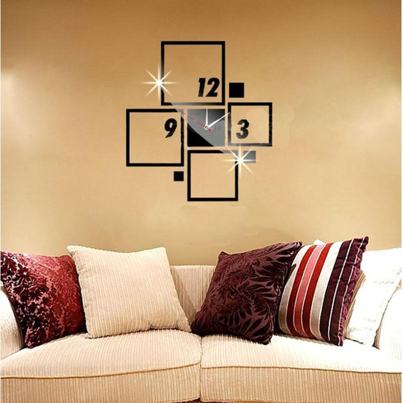 Decorative Square Shatterproof mirror wall clock Modern wall clock ...