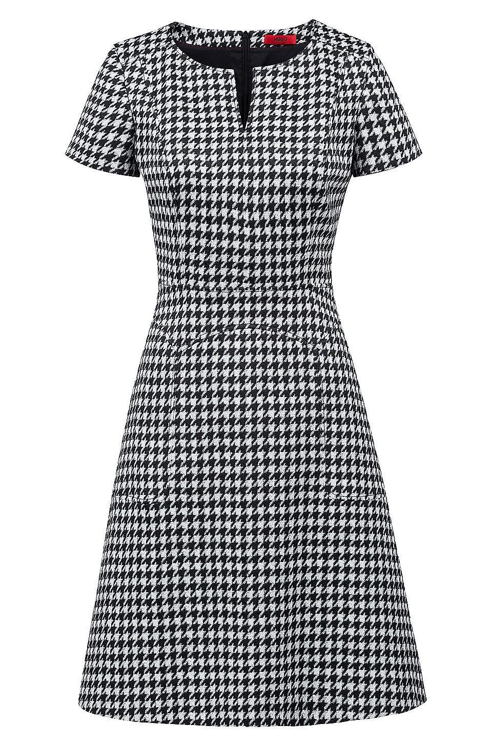 A-Linien-Kleid aus elastischem Baumwoll-Mix mit Hahnentritt-Muster