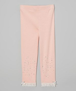 Look at this #zulilyfind! Pink Rhinestone & Lace Leggings - Infant, Toddler & Girls by Just Fab Girls #zulilyfinds