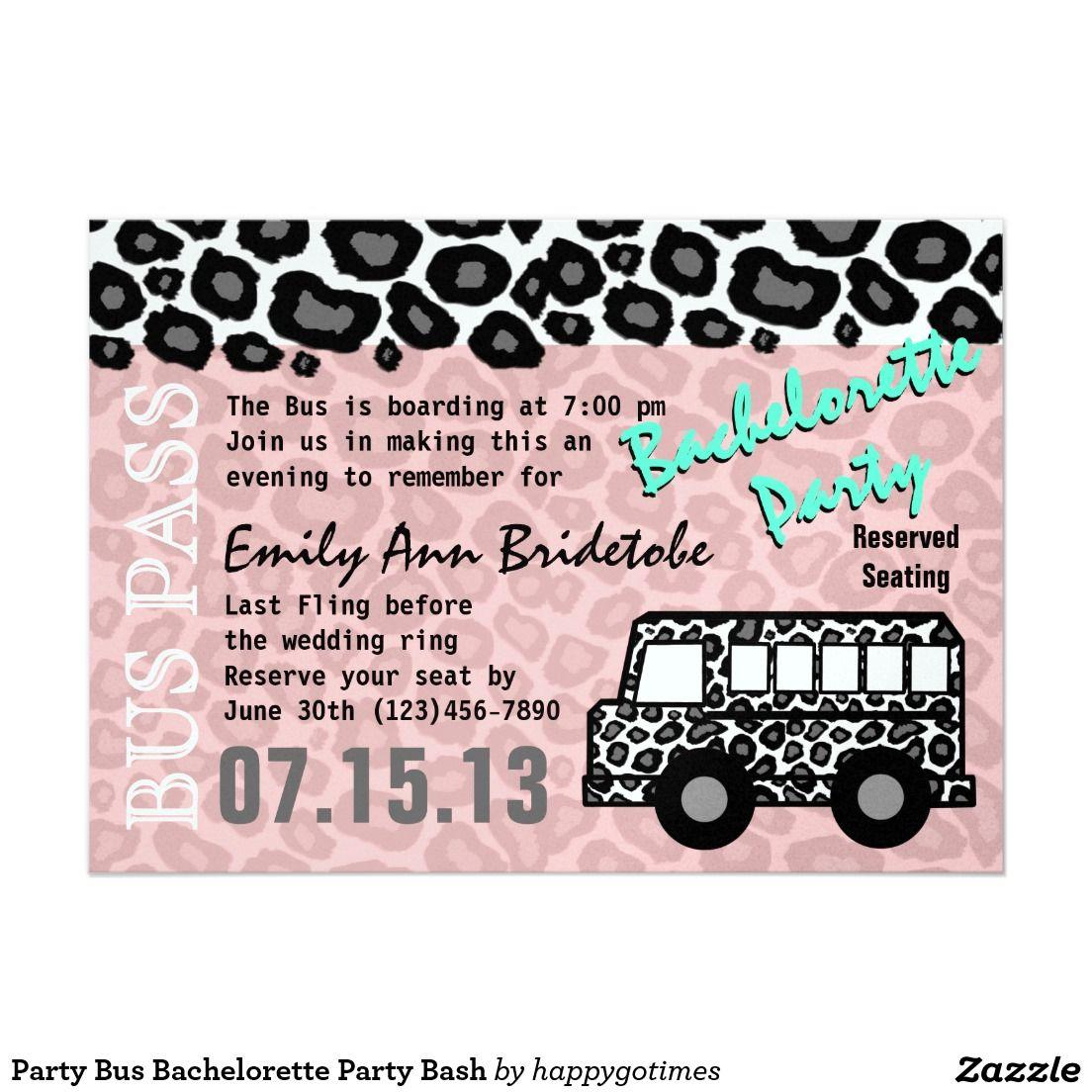 Party Bus Bachelorette Party Bash Invitation