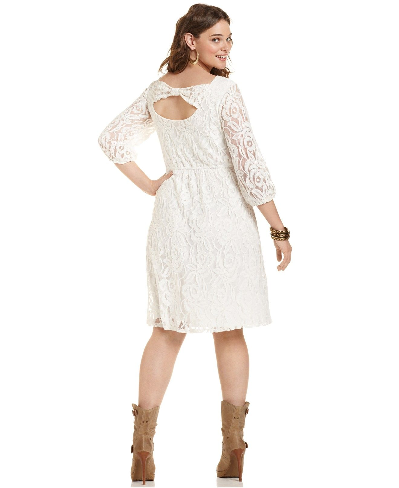 6c385208217 ING Plus Size Three-Quarter-Sleeve Lace Dress - Dresses - Plus Sizes -  Macy s