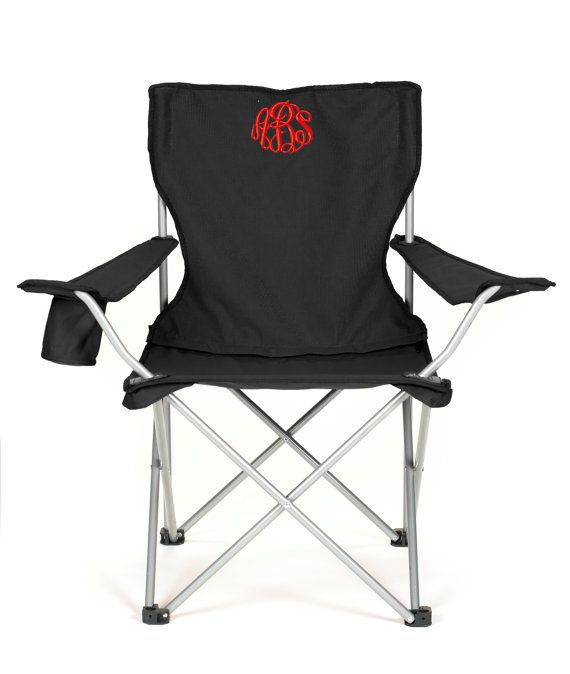 personalized folding chair zebra saucer monogrammed camping tailgating ballgame gift red black and royal blue