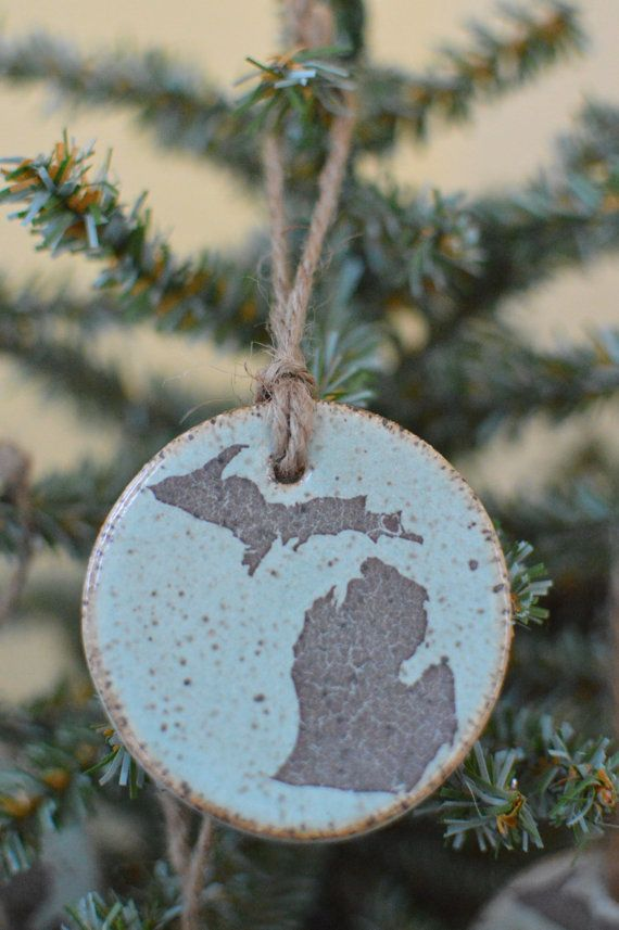 These Are Handmade Ceramic Michigan Christmas Ornaments A Perfect Gift For Anyone Who Lives Or Has Lived In Mi Handmade Ceramics Ornaments Christmas Ornaments