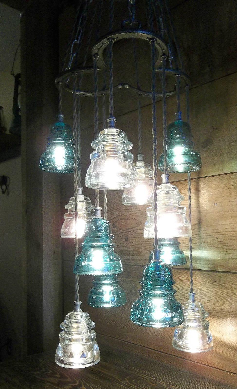 Horse shoe antique glass insulator pendant chandelier for Telephone insulator light fixture