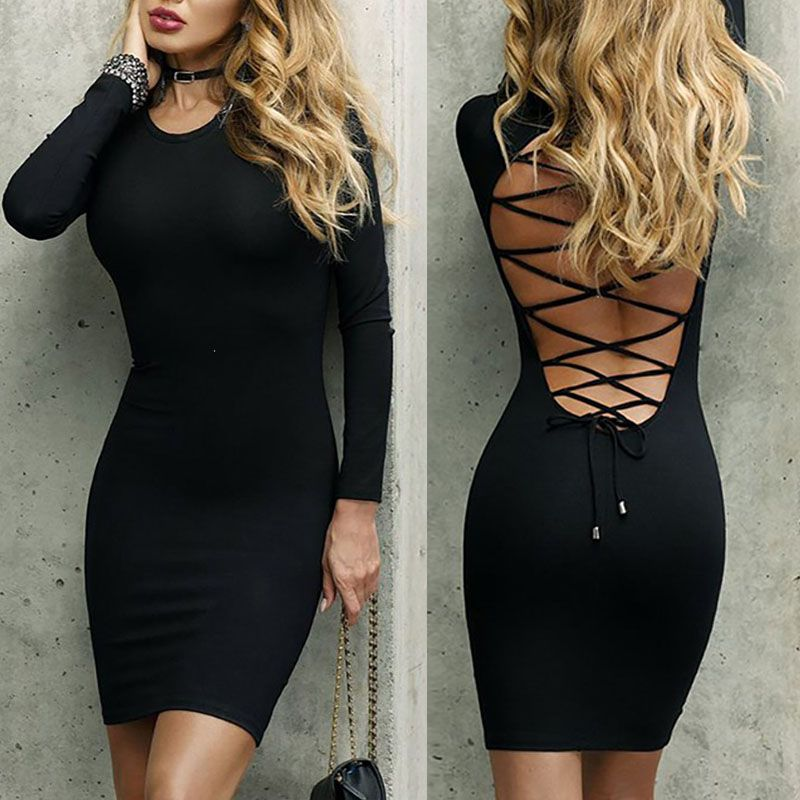 fc45d2a4d2 Trendy Lace Up Back Long Sleeve Bodycon Mini Dress | Makeover ...