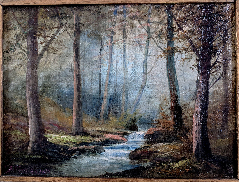 Antique Landscape Painting Artist Falls Brook By D A Fisher 1911 By Tlgvintageart On Et Antique Landscapes Landscape Painting Artists Landscape Paintings