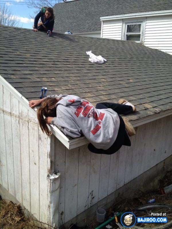 Girl Falling From Slanting Roof Funny Fail Roofing