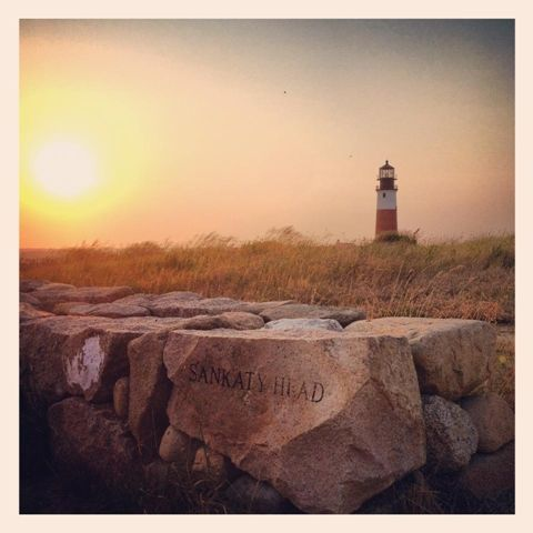 Sankaty Head Light sits atop a bluff on the eastern shore of Nantucket island. Built in 1850, it was moved 400 feet away from its eroding bluff.