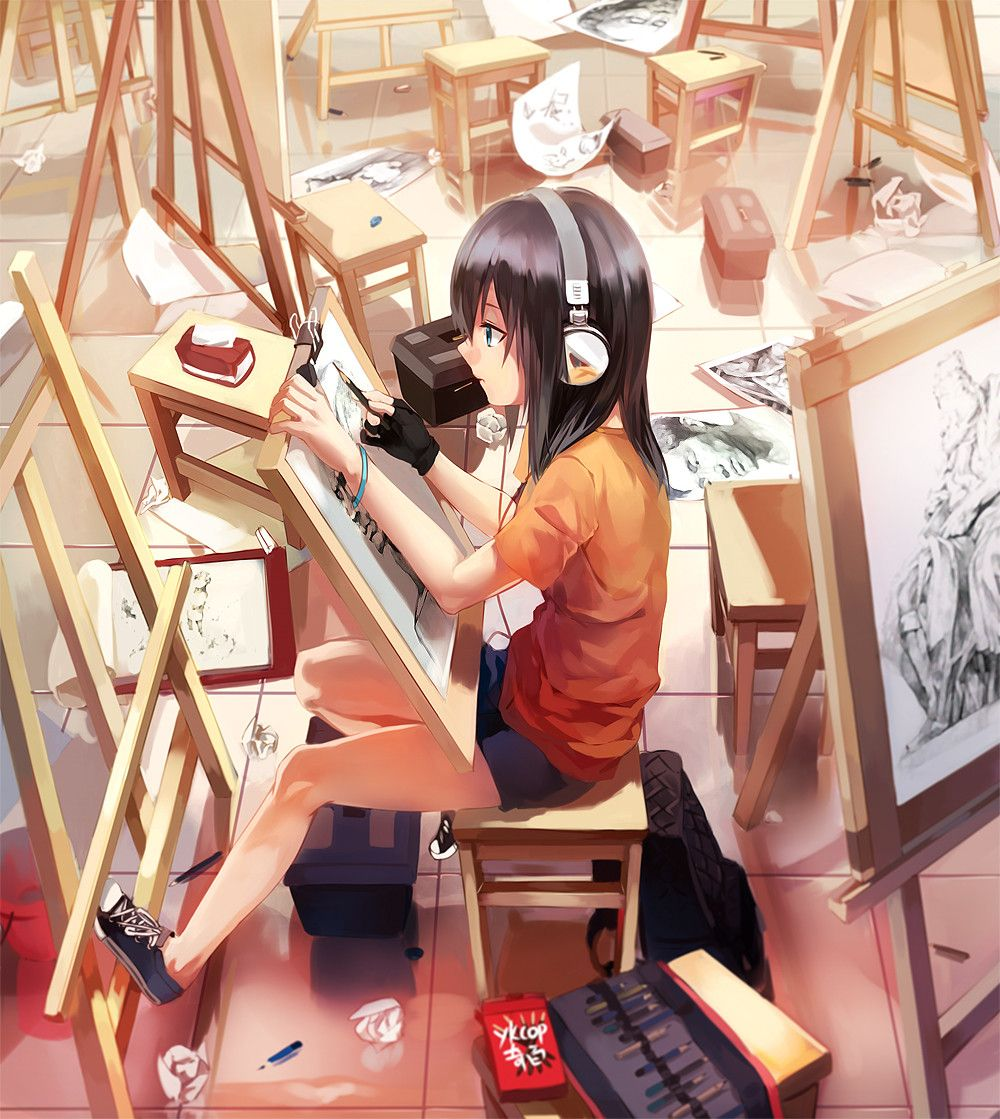 Anime Art Anime Artist Easel Sketches Sketching Art Supplies Headphones Classroom Anime Art Tutorial Anime Art Fantasy Anime