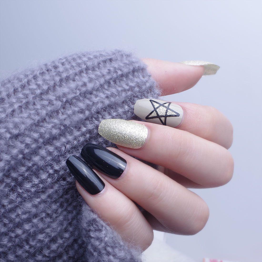 24Pcs Long Coffin Nails Christmas New Year Fake Nails With Design ...