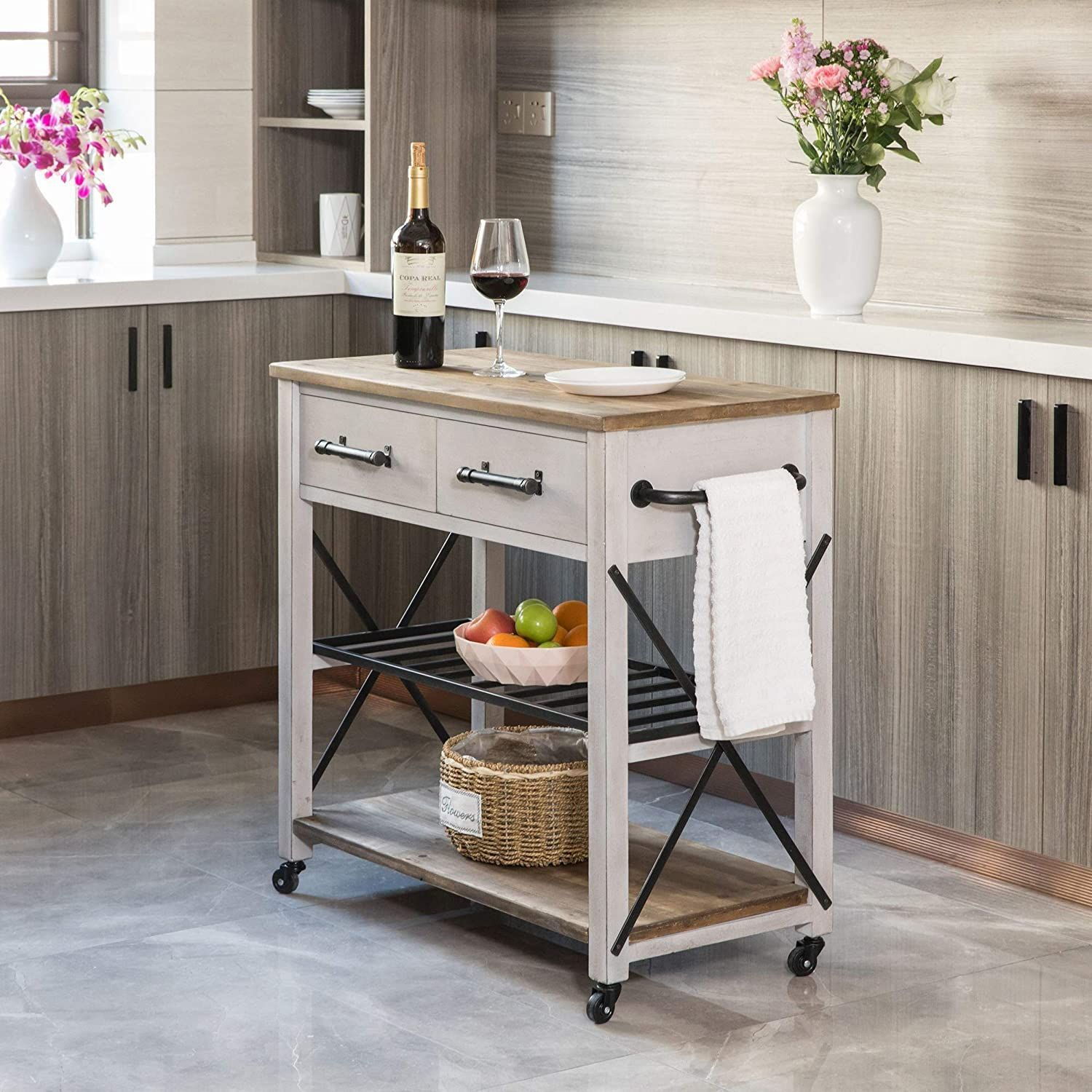 100 Farmhouse Bar Carts And Rustic Kitchen Carts For Your Farmhouse Style Kitchen We Absolutely Love Farmhouse Kitchen Isl