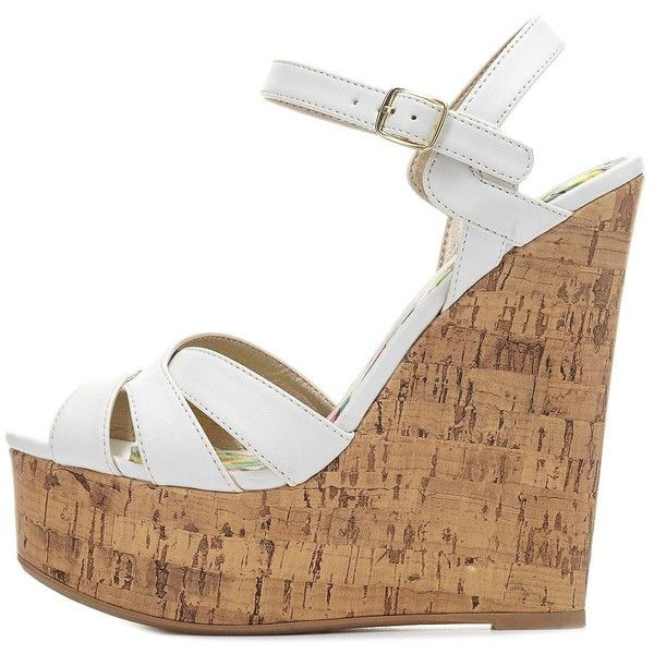 Charlotte Russe Crisscrossed Platform Wedge Sandals featuring ...