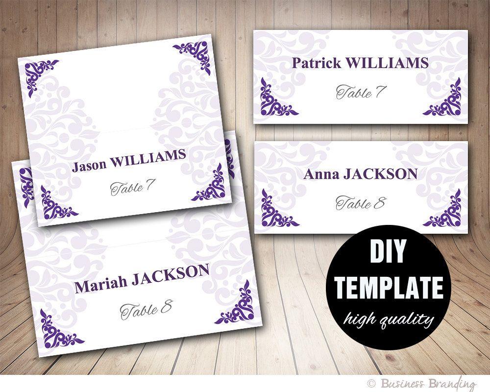 Wedding Placecard Template Foldover,DIY Purple Place card